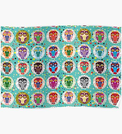 funny colorful owls Poster