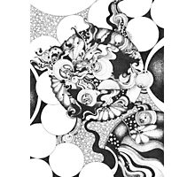 Black and White Doodle, Pointillism Photographic Print