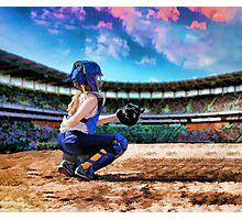 Softball Catcher And Stadium Painting Photographic Print