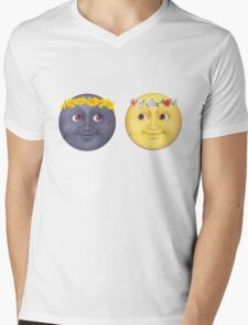 Moon and Sun Emoji Flower crown. Mens V-Neck T-Shirt