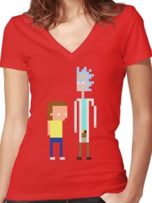 Rick and Morty Pixels  Women's Fitted V-Neck T-Shirt