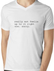 Undertale Not Feelin' Up To It Right Now Mens V-Neck T-Shirt