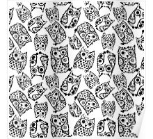 Funny cute owls with ink splashes. Poster