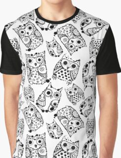 Funny cute owls with ink splashes. Graphic T-Shirt