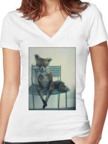 Stoned Fox. Women's Fitted V-Neck T-Shirt