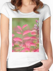 pink flower and leaves  in the garden Women's Fitted Scoop T-Shirt