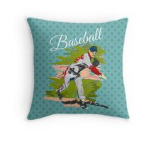 Baseball Player Illustration Throw Pillow