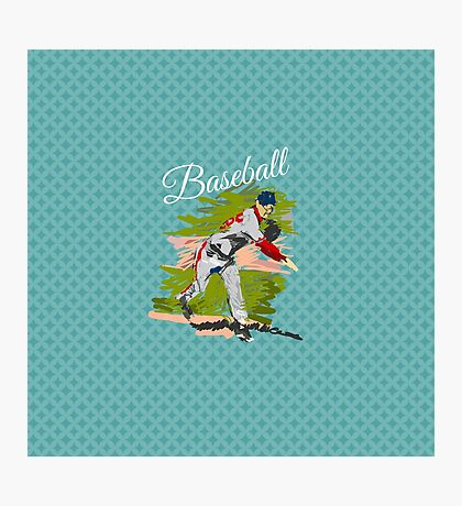 Baseball Player Illustration Photographic Print