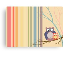 Retro vintage owls Canvas Print
