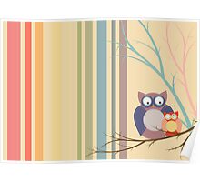 Retro vintage owls Poster