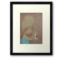 Vintage Girl with puppy    Framed Print