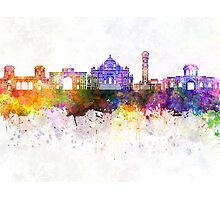 Ahmedabad skyline in watercolor background Photographic Print