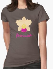 Feminist - Yellow and Pink Orchid Womens Fitted T-Shirt