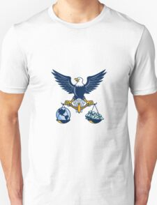 Bald Eagle Hold Scales Earth Money Retro T-Shirt