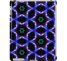 Pattern 52: Black abstract with blue lines, lights and green stars iPad Case/Skin