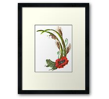 Frog and Poppies beneath Wheat, Grass and Snail Wildlife Framed Print