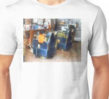 Barber Chair With Orange Barber Cape Unisex T-Shirt