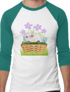 Bunny in a basket Men's Baseball ¾ T-Shirt