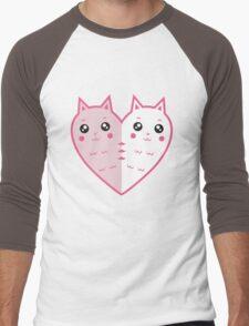 Cute cat-heart Men's Baseball ¾ T-Shirt