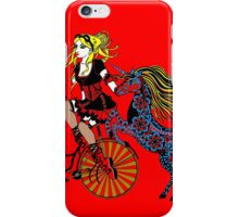 Steampunked bike, unicorn & lady iPhone Case/Skin