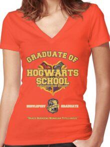 Graduate of Hogwarts School - Hufflepuff Women's Fitted V-Neck T-Shirt