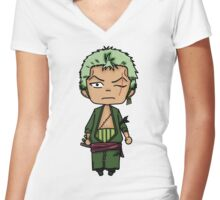 Roronoa Zoro - One Piece Chibi Women's Fitted V-Neck T-Shirt