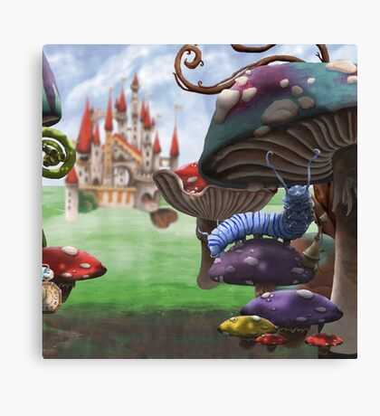 Caterpillar in the Wonderland Toadstool Forest Canvas Print