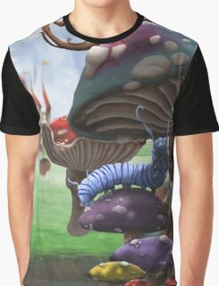 Caterpillar in the Wonderland Toadstool Forest Graphic T-Shirt