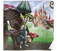 White Rabbit in the Wonderland Toadstool Forest Poster