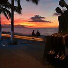 sunset at the malecon of puerto vallarta - puesta del sol en el malecon de puerto vallarta by Bernhard Matejka