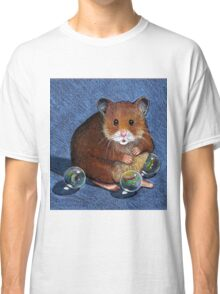 Hamster Playing with Marbles, Colour Pencil Art Classic T-Shirt