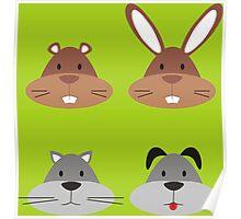Animal Heads Poster