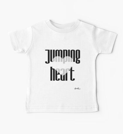 Heartful - Jumping Heart in Black on White Baby Tee