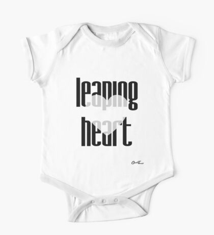 Heartful - Leaping Heart in Black on White One Piece - Short Sleeve