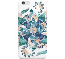 Modern coral blue watercolor floral illustration  iPhone Case/Skin
