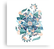 Modern coral blue watercolor floral illustration  Metal Print