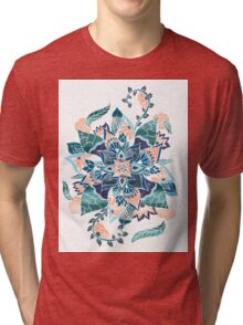 Modern coral blue watercolor floral illustration  Tri-blend T-Shirt