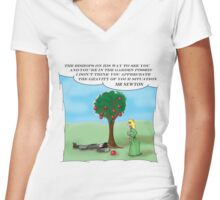 Newton and the Apple (updated 3.2.2016) Women's Fitted V-Neck T-Shirt