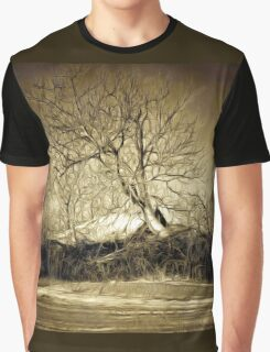 A digital painting in an old print style of a Romanian Winter scene Graphic T-Shirt