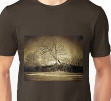 A digital painting in an old print style of a Romanian Winter scene Unisex T-Shirt