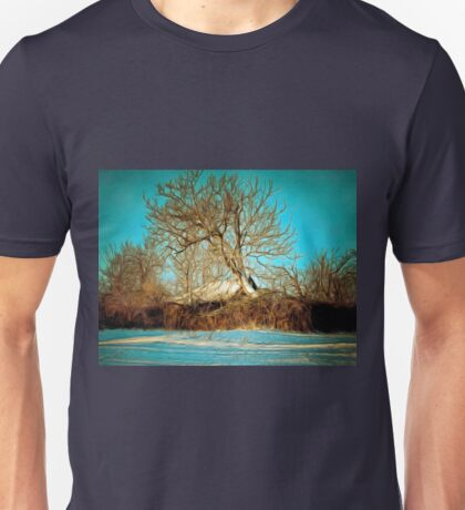A digital painting of a Romanian Winter scene Unisex T-Shirt