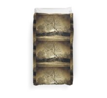 A digital painting in an old print style of a Romanian Winter scene Duvet Cover