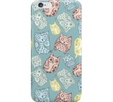 Contour funny owls seamless pattern. Ink splashes owl. Cute animal. iPhone Case/Skin