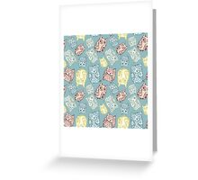 Contour funny owls seamless pattern. Ink splashes owl. Cute animal. Greeting Card