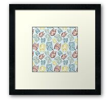 Contour funny owls seamless pattern. Ink splashes owl. Cute animal. Framed Print