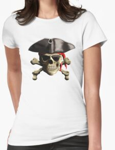 The Jolly Roger Pirate Skull Womens Fitted T-Shirt