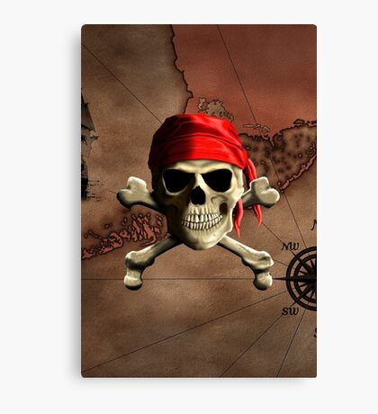 The Jolly Roger Pirate Map Canvas Print