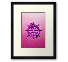 Pink Nautical Ships Wheel And Anchor Framed Print