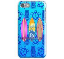 Pink Born To Surf Blue Tiki Mask iPhone Case/Skin