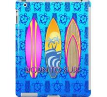 Pink Born To Surf Blue Tiki Mask iPad Case/Skin